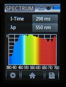 Mulighed for at få vist spektret af lyset - her dagslys