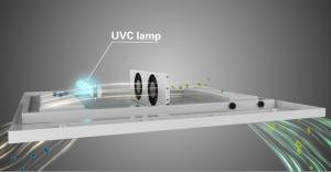 Konstrueret med nlæser og UV-C rør der kan rense op til 45 m3 luft i timen